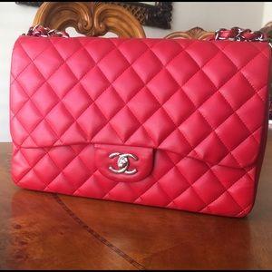 Chanel Pink Jumbo Lambskin Flap Bag Silver HW